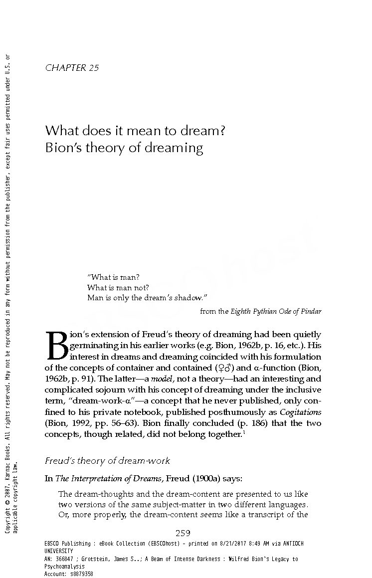 Grotstein, J S  - Chapter 25 what does it mean to dream